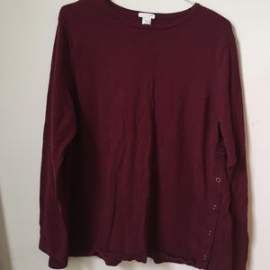 Burgundy Sweater with Side Snaps